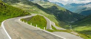 wide open road in Switzerland