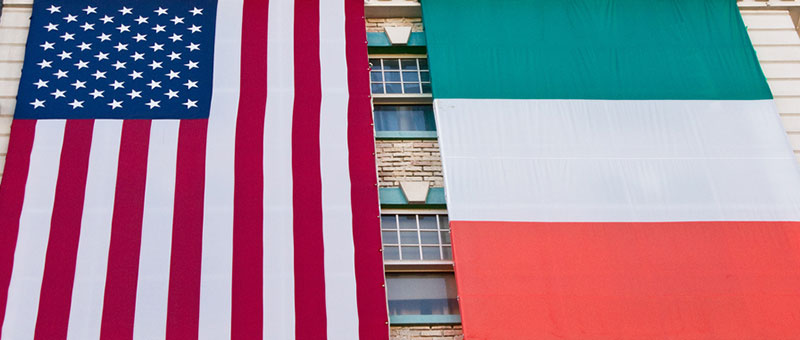 American and Irish flags