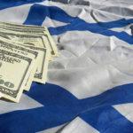 US dollars on Israeli flag