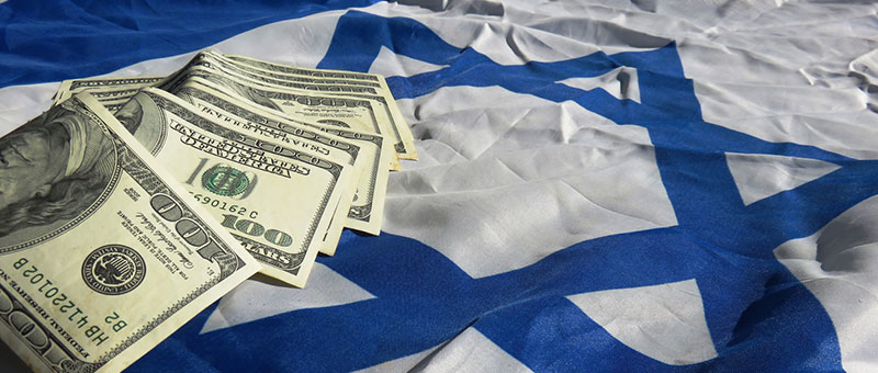 US dollars on Israeli flag