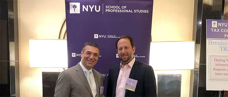 Former IRS tax attorneys Gary Slavett and Igor Drabkin at the 11th Annual NYU Tax Controversy Conference